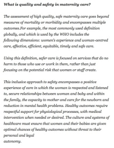 Excerpt from Birthrights' letter to the NHS Maternity Review, 16 August, 2015